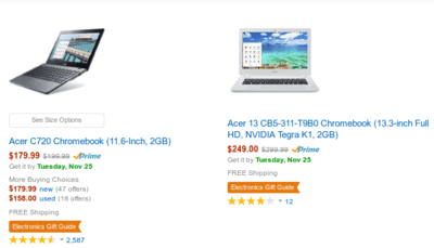 Cyber Monday Chromebook Sale on Amazon.com